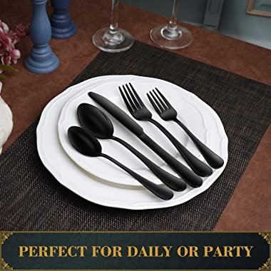 Hiware Black Silverware Set with Tray, 20-Piece Stainless Steel Flatware Cutlery Set Service for 4, Mirror Finish, Dishwasher