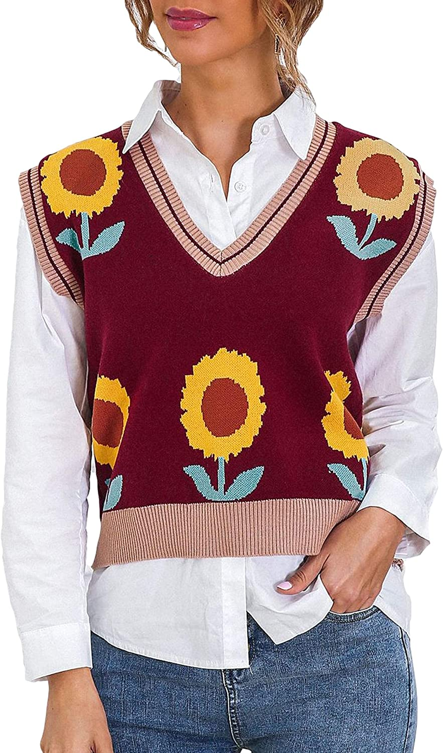 Uaneo Womens Knit Printed V Neck Sleeveless Casual Pullover Sweater Vests(Red-One Size)