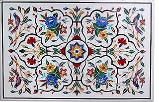 Table de salle à manger rectangulaire blanche incrustée avec motif floral style maison indienne 91,4 x 152,4 cm