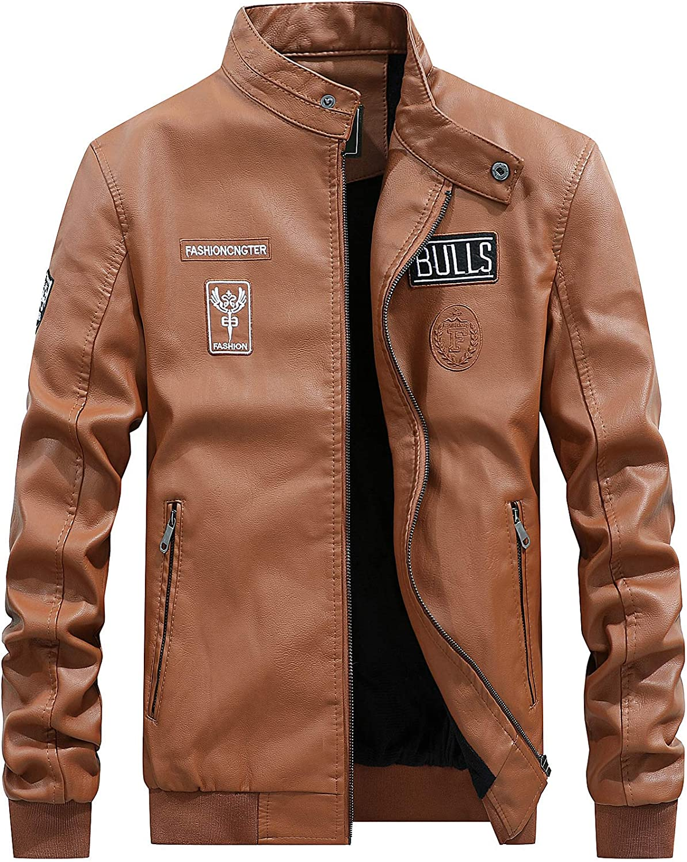 YINSY Men's Faux Leather Motorcycle Biker Jacket Classic Zipper Jacket Coat,Yellow,M