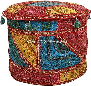 DK Homewares Pouf Ronde Indien Pouf Coloré Miroir Brodé Patchwork Coton Salon Pouf Couvre Pouf Décoratif Pouf Repose-Pied ...