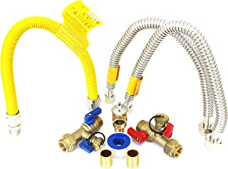 Kahenian 3/4 inch Tankless Water Heater Isolation Service Valve Complete Kit with Pressure Relief Valve, FNPT X FNPT, 3/4