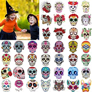 Konsait 80pcs Halloween Temporary Tattoo for Kids, Day of the Dead Sugar Skull Transfers Face Tattoo for Kids Boys Girls Mexican Halloween Party Favors Supplies Trick or Treat Party Bag Fillers