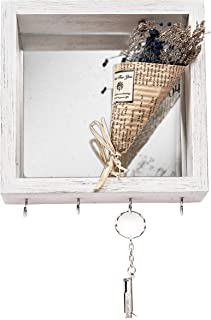 Space Art Deco Rustic White Shadow Box with Mirror Backing - Four Hooks - Sawtooth Hanger - Wall Décor - Trinket, Memorabilia Display - Holder Frame