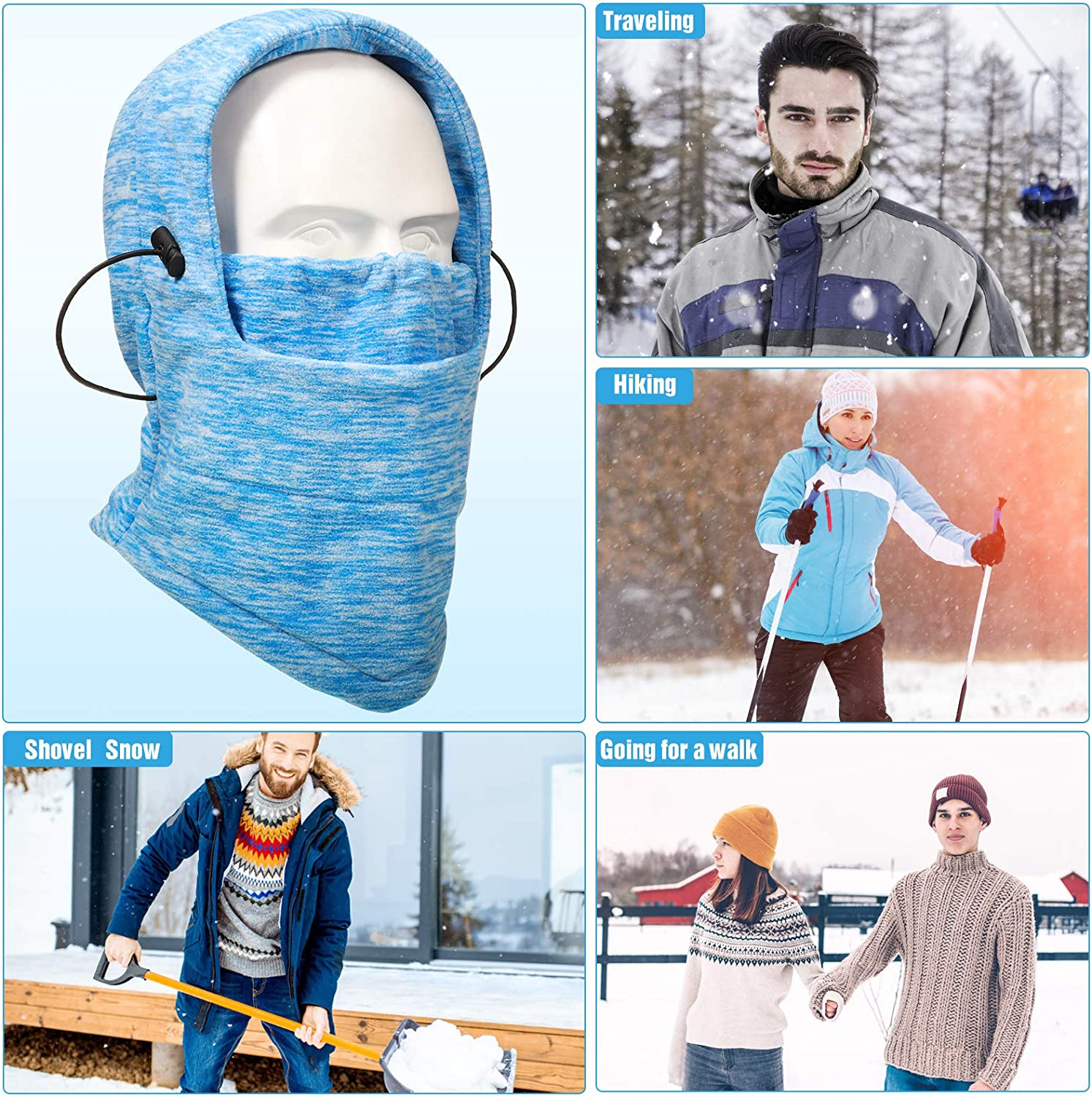6 Pieces Winter Balaclava Warm Fleece Ski Bike Full Face Covering Neck Warmer Sports Cap for Cold Weather