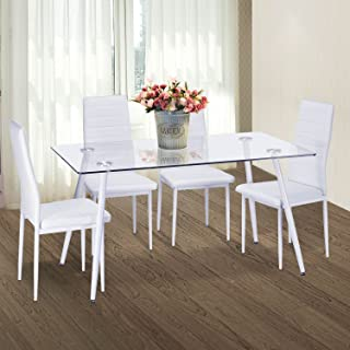 Merax Set of 4 Dining Chairs PU Leather Kitchen Chairs Cushion High Back Support, White