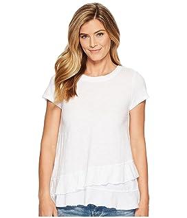 Slub Jersey Asymmetrical Flounce Hem T-Shirt