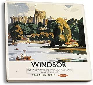 Lantern Press Windsor, England - British Railways Windsor Castle Thames - Vintage Travel Poster (Set of 4 Ceramic Coasters - Cork-Backed, Absorbent)