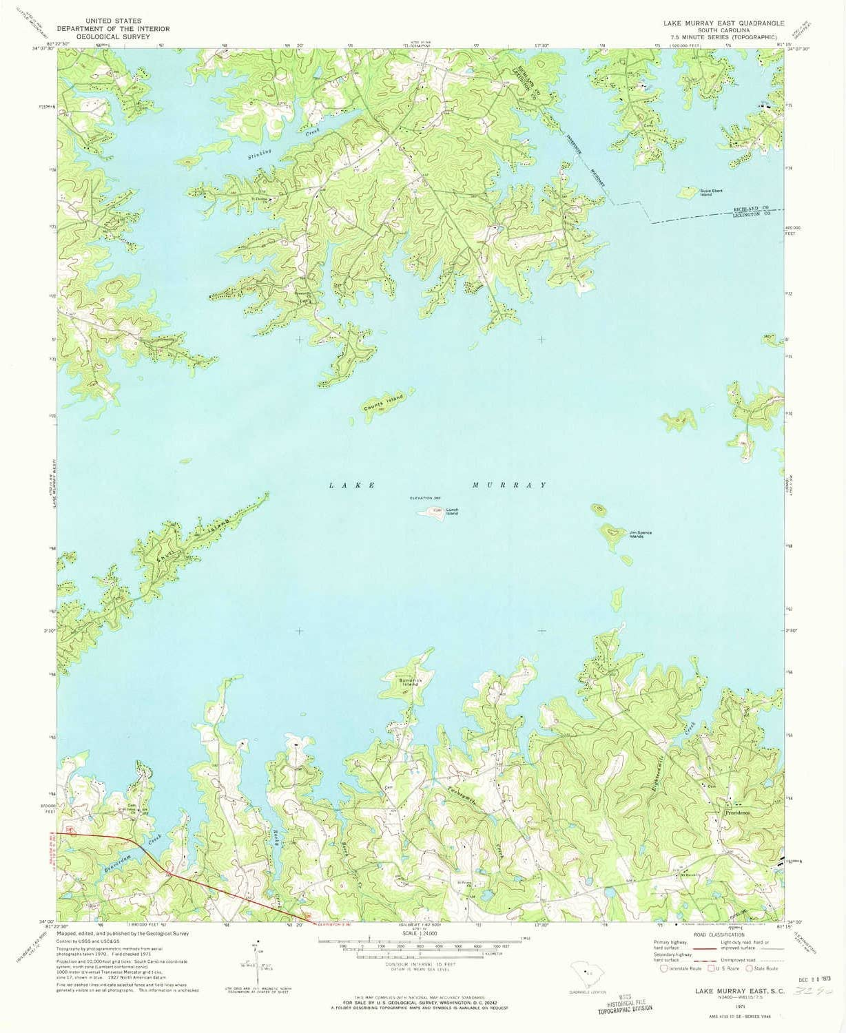 YellowMaps Lake Murray East SC High quality new topo 7.5 1:24000 Very popular map X 7. Scale