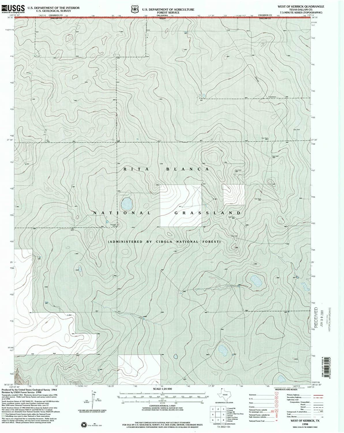 West of Kerrick TX topo map, 1 24000 Scale, 7.5 X 7.5 Minute, Historical, 1998, Updated 2001, 26.8 x 21.9 in