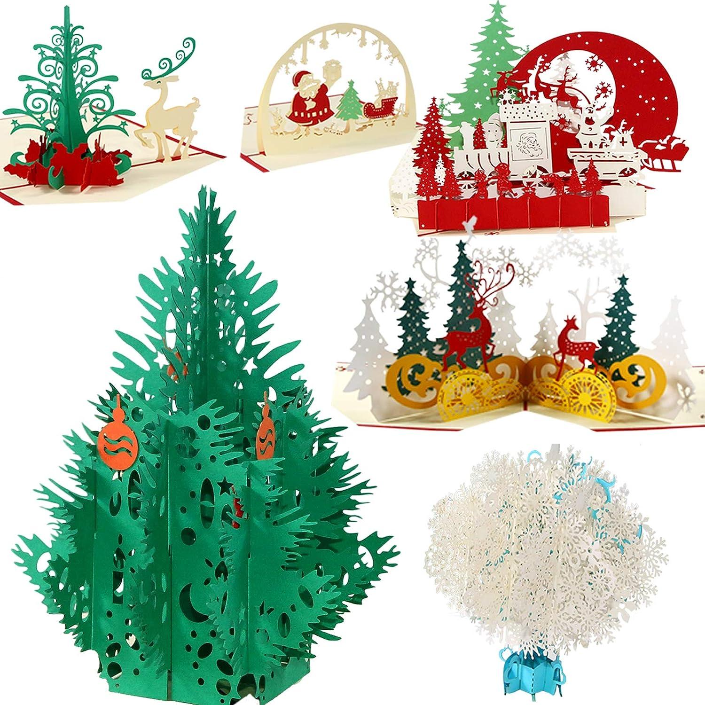 3D Tarjetas de Navidad 6 Piezas, YOUNGSZ 3D Pop Up Cards Hechas a Mano Postales Tarjetas de Agradecimiento, Tarjeta de Regalo con Sobres Tarjetas de Navidad,Copos de Nieve,Árbol,Muñeco de Nieve,Reno