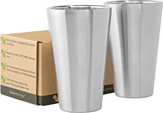 Stainless Steel Cups Double Wall Tumbler Glasses 16 oz - Premium Pint Cups - Set of 2 - Stackable Shatterproof - Dishwashe...