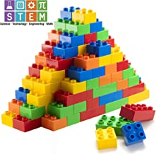 Prextex 150 Piece Classic Big Building Blocks Compatible with All Major Brands STEM Toy Building Bricks Set for All Ages