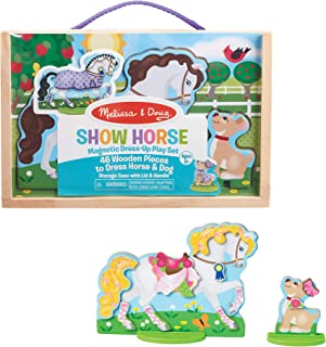 Melissa & Doug Show Horse And Dog Magnetic Dress- Wooden Figures Pretend Play Set (46 pcs)