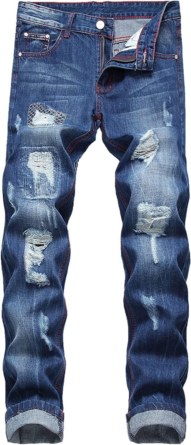 JUNBAOSS Men's Fashion Relaxed Fit Ripped Distressed Destroyed Jeans, Straight Tapered Leg Denim Jeans Pants with Holes