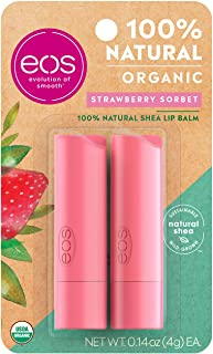 eos USDA Organic Lip Balm - Strawberry Sorbet | Lip Care to Moisturize Dry Lips | 100% Natural and Gluten Free | Long Last...