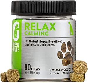Green Gruff Calming Chews for Dogs – Organic Dog Calming Supplement – Veterinarian Approved – Dog Calming Treat - Made in USA – Separation, Storms, Fireworks, Travel