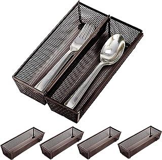 Smart Design Drawer Organizer - (9 x 3 Inch) - Steel Metal Mesh - w/Interlocking Arm Connection - Utensils, Flatware, Orga...