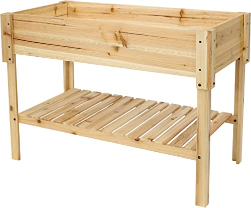 high quality Sunnydaze Raised Wooden Garden Bed - Outdoor Planter Box with high quality Lower Shelf - 42-Inch Size - Plant Flowers, Herbs, Green Plants, and popular Vegetables - Clear Coat online sale