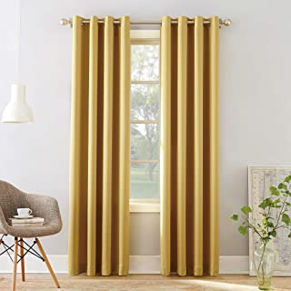 yellow grommet curtain panels
