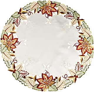 Linens, Art and Things Embroidered Fall Leaf Doily Place Mat Small Tablecloth 24 Inches Round