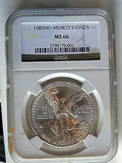 1985MO Mexico Un Onza Plata Pura NGC-MS66 Libertad Silver Coin