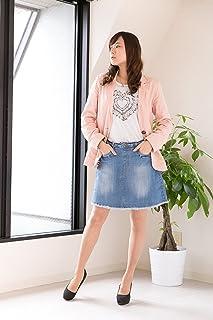 ヴィンテージ加工 デニム スカート WD-0083 (4L, ブルー)