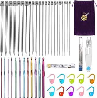 Anpro 56pcs Crochet Tricot Kits, kit Tricot et kit Crochet conviennent Parfaitement au Tricotage à la Main d'outils de Bri...