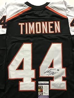 Autographed/Signed Kimmo Timonen Philadelphia Black Hockey Jersey JSA COA
