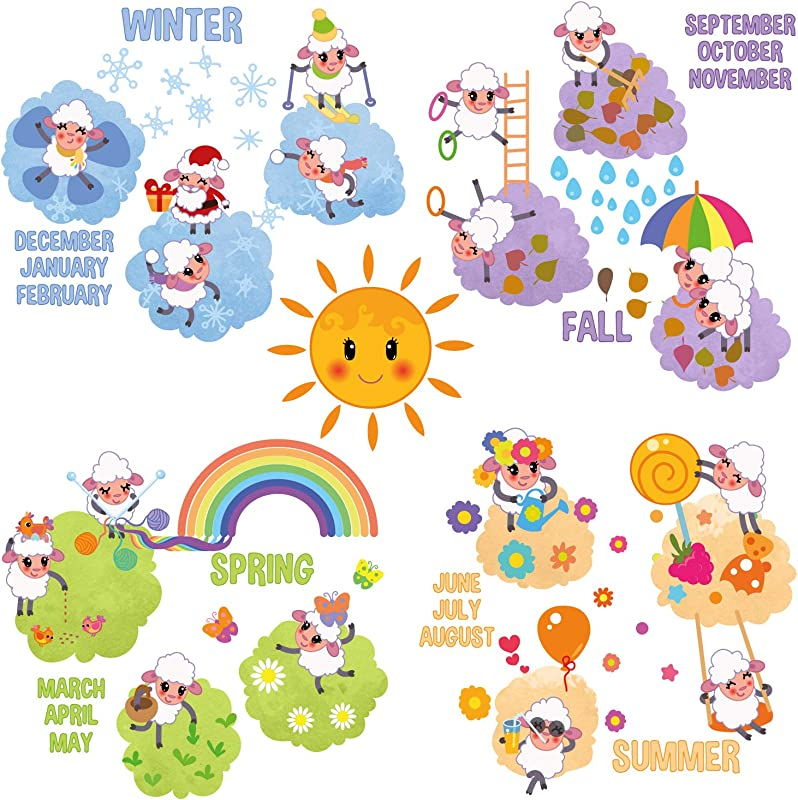 Wall Decals For Kids Rooms Sheep Family Four Seasons Wall Stickers Removable Vinyl Room Wall Decor For Nursery Bedroom Playroom
