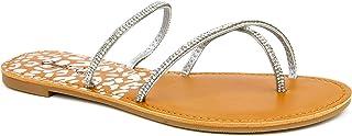 Qupid Athena Flip Flops for Women - Faux Leather Flat Sandals