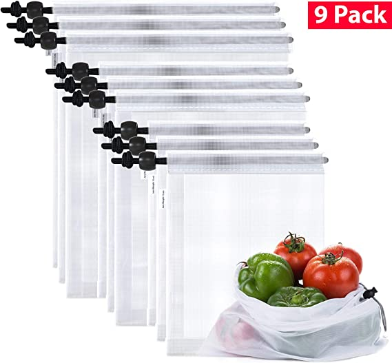 Max K Reusable Mesh Produce Bags for Grocery and Food Storage