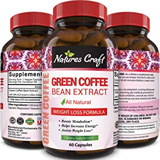 100% Pure Green Coffee Bean Extract Highest Quality 800 mg Best Weight Loss Formula for Women and Men Natural Diet Pills F...