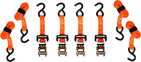 SMARTSTRAPS 10-Foot Ratchet Straps (4pk), 3,000 lbs Break Strength, 1,000 lbs Safe Work Load Haul Heavier Loads Like Motorcycles, Boats and Large Appliances, Heavy-Duty Padded Tie-Downs