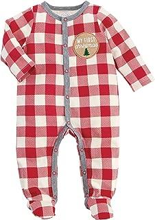 Mud Pie Kids Baby 1st Christmas Buffalo Check 1 Pc Sleeper Set Pajamas