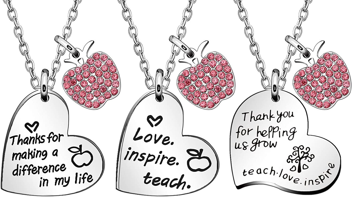 JQFEN 3 Pcs Heart Necklaces Set School Teacher Gifts Max 80% OFF Open Free Shipping New Gr for