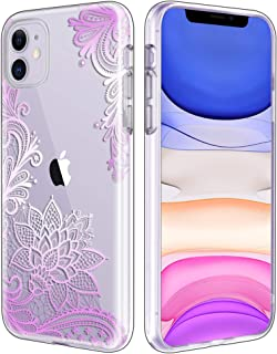 Casetego Compatible iPhone 11 Case,Clear Soft Flexible TPU Case Rubber Silicone Skin with Flowers Floral Printed Back Cover for Apple iPhone 11 6.1 inch,Purple Flower