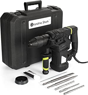 Grandma Shark 1500W Hammer Drill Kit, Impact Drill with 2 Chisel and 3 Drill Bits, Hammer Chiseling Drilling 3 in 1