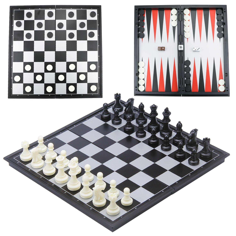 CRMICL Juego de ajedrez magnético de Viaje,Juego de ajedrez 3 en 1 Tablero de ajedrez Plegable magnético para Adulto Juego de ajedrez Plegable para niños Juego de ajedrez Tradicional 12.6