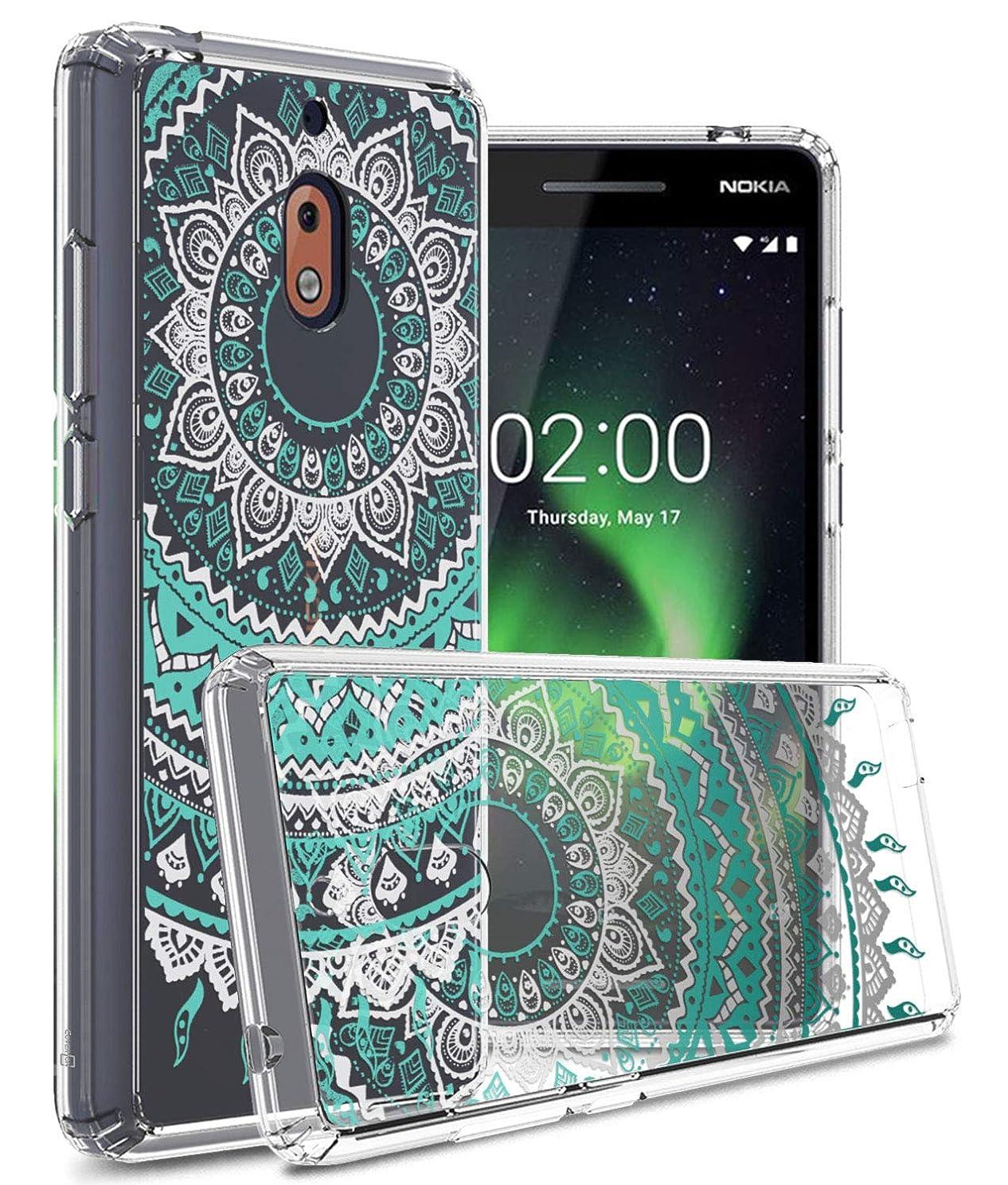 Nokia 2V Case, Nokia 2.1 Case, CoverON ClearGuard Series Premium Slim Fit Hard Phone Case with TPU Grip Bumpers - Teal Mandala Design
