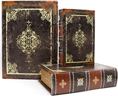 Jolitac Decorative Book Boxes World Map Pattern Antique Book Invisible box with Magnetic cover, Faux Wood Set of 3 Storage Se