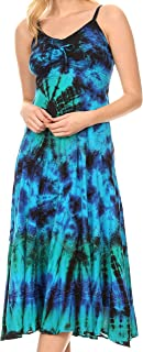 Sakkas Adela Women's Tie Dye Embroidered Adjustable Spaghetti Straps Long Dress