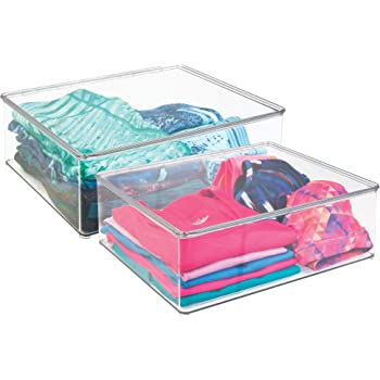 mDesign Juego de dos cajas para guardar ropa – Contenedores de plástico de 12,7 cm de