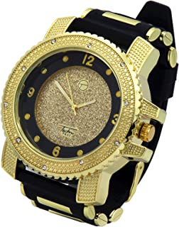 Totally Iced Out Cz Techno Pave Gold Tone Black Band Over Sized Hip Hop Men's Bling Bling Watch Watches1