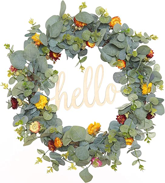 FAVOWREATH 2019 Vitality Series FAVO W171 Handmade 18 Inch Hello Letter Eucalypt Left Multi Flowers Berry Leaf Grapevine Wreath Summer Fall Front Door Wall Fireplace Floral Hanger Home Every Day Decor