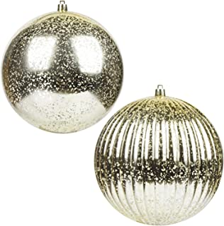 KI Store Christmas Ball Ornaments Champagne Set of 2 Extra Large Hanging Tree Ball Ornament Decorations Super Large Shatterproof Vintage Mercury Balls 6-Inch