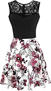 Women's A-Line Pleated Sleeveless Little Cocktail Party Dress with Black Top
