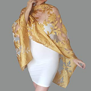 f53ea18a63a1a Gold Wedding Stole Yellow Evening Wrap Summer Shawl By ZiiCi