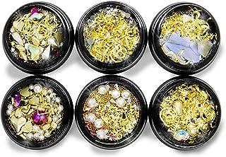 6packs Mixed Nail Art Gems, Nail Rhinestones DIY Nail Jewels and Diamonds Crystal Glitter Nail Accessories Nail Decor Flat...