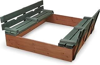 Badger Basket Covered Convertible Cedar Sandbox with Two Bench Seats Cedar Sandbox, Natural/Green, 46.5 x 46.5 x 9.5